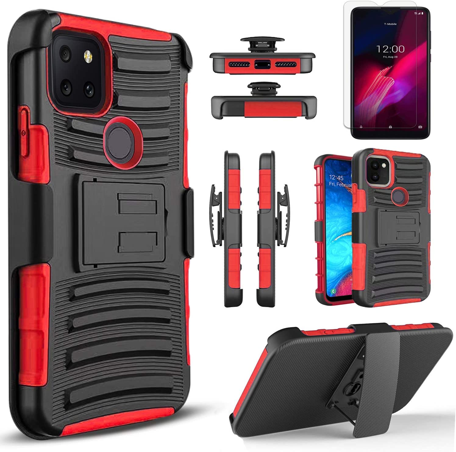 Circlemalls - T-Mobile Revvl 5G Phone Case, [Not Fit Revvl 4] With [Tempered Glass Screen Protector Included], Armor Heavy Duty Kickstand Cover With Belt Clip Holster - Red