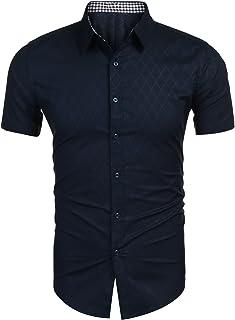 Burlady Hemd Herren Kurzarm Slim Fit Freizeit Hemden Diamant-Optik Kariert Männer Shirt