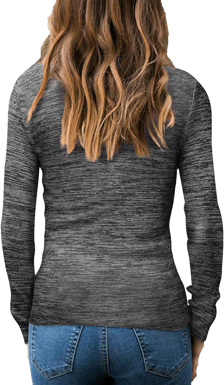 Auxo Damen Pullover Langarmshirt Rollkragen Sweatshirt Elastisch Tops Oberteile Taillierte Bluse Schwarz