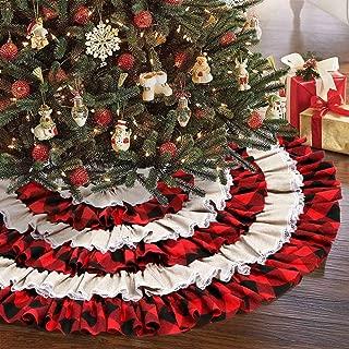 Aytai 48 Inch Burlap Christmas Tree Skirt, 6 Layers Red and Black Ruffled Christmas Tree Skirt for Christmas Decorations