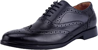 ELANROMAN Men's Oxford Dress Shoes All Genuine Leather Hand Stitched Sole Shoes