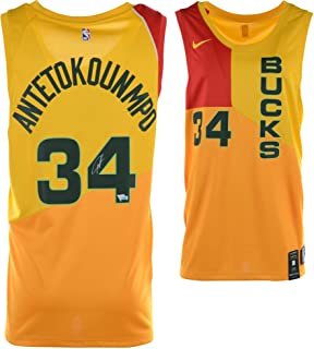 86a01866442 Giannis Antetokounmpo Milwaukee Bucks Autographed Yellow Nike City Edition  Swingman Jersey - Fanatics Authentic Certified