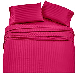 Angel Bedding Olympic Queen Sheet Set - 4 Pieces Bed Sheets Stripe Hot Pink - Super Soft 1800 Series Brushed Microfiber - 15 Inch Deep Pocket Fitted Sheets -Wrinkle and Fade Resistant