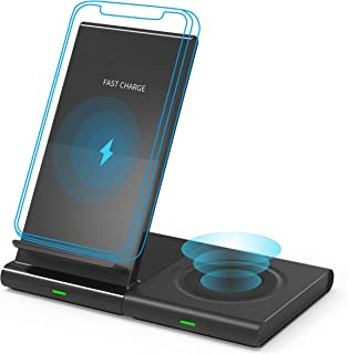 Wireless Charger, Dual Wireless Charger Qi Certified Magnetic Wireless Charging Stand & Dock, Compatible with iPhone XR/XS MAX/XS/X/8/8 Plus/Airpod, Samsung Galaxy S10/S9/S8/S7/Note 9/8, Galaxy Watch