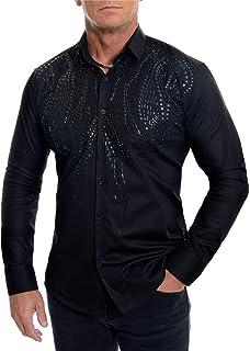 Men's Elegant Dress Shirt Sequins Party Suit Cotton White Black Slim Fit Wedding