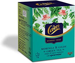 Care Moringa & Giloy Green Tea with Spearmint | Helps in Weight Management | Reduces Stress and Anxiety | Strengthens Immu...