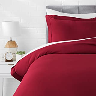 AmazonBasics Light-Weight Microfiber Duvet Cover Set - Twin/Twin XL, Burgundy