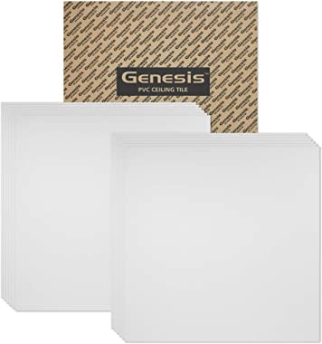Genesis 2ft x 2ft Smooth Pro White Ceiling Tiles - Easy Drop-in Installation – Waterproof, Washable and Fire-Rated - High-Grade PVC to Prevent Breakage - Package of 12 Tiles