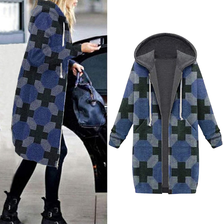 riou Damen Kapuzenjacke Lang Herbst Winter Übergangsjacke Hoodie Jacke mit Reißverschluss Sweatjacke B-blue
