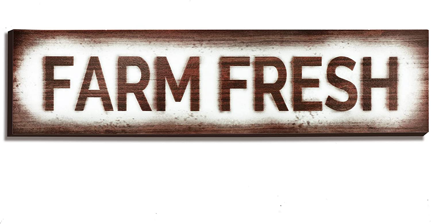 Jetec Farm Fresh Sign Rustic Wooden Sign Country Home Decor Rustic Farmhouse Hanging for Home Decor, 15.7 x 4 x 0.2 Inch