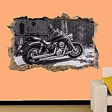 ioljk Pegatina DE Pared REVESTIDA EN 3D DE Moto EN Blanco Y Negro Mural Decoracion DE HABITACION