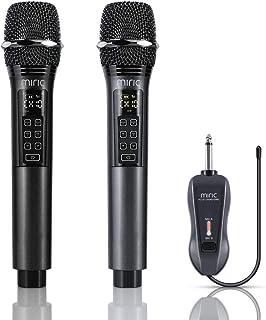 Miric Micrófono Inalámbrico Profesional Recargable, Microfono Karaoke Dinámico Dual con Control de Volumen y 10 Opciones de Canales UHF, para KTV, Fiesta Lugares de Entretenimiento y Boda