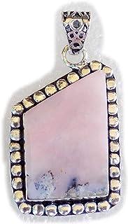 Pink Opal Pendant, Silver Plated Brass Pendant, Handmade Pendant, Gift Jewelry, Women Jewellry, Fashion Jewellry, BRS-12341