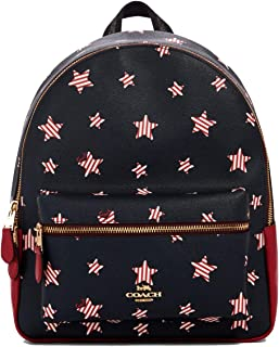 Medium Charlie Signature Leather Backpack (Navy/Red Multi)