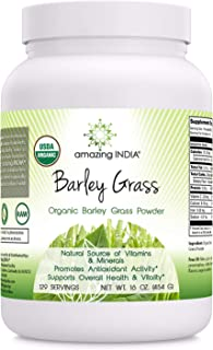 Amazing India USDA Certified Organic Barley Grass Powder (Non-GMO) 482 Gm (16 Oz) -Natural Souce of Vitamins & Minerals* P...