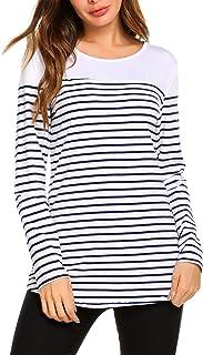 SimpleFun Women's Casual Color Block Shirts Long Sleeve Stripe T-Shirt Tunic Tops Patchwork Blouse