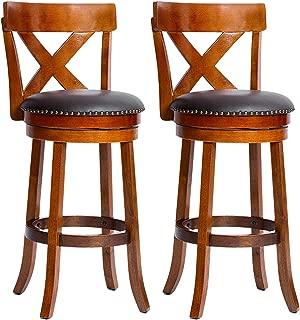 Furgle Set of 2 Swivel Bar Stool 29-inch Solid Wood Upholstered Bar Bar Height Swivel Stool PU Leather Cushioned Seat w/Brass Nailhead Studs for Kitchen Island, Counter, Pub or Bar - Light Oak
