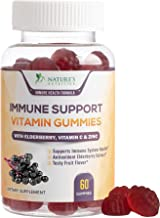 Immune Support Gummies for Adults with Black Elderberry Extract, C & Zinc, Natural Pectin Based Gummy Vitamin, Immune System Support Supplement for Children, Tasty Fruit Flavor - 60 Gummies