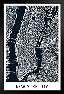 New York City Black Minimalist Art Map Art Black Wood Framed Poster 14x20