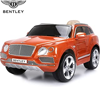 Licensed Bentley Bentayga Electric Ride on Car with Remote Control, 12V Electric SUV Truck for Kids To Drive, Suspension System, Openable Doors, Leather Seat, Music Player- Painted Orange
