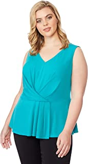 Beme Rebel Wilson Pleated Peplum Top Lk-Grass 3XL - Womens Plus Size Curvy