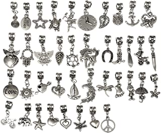 RUBYCA 40Pcs Tibetan Silver Color Connector Bails Mix Beads with Pendant fit Charm Bracelet 201