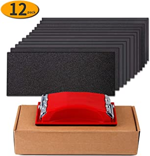 Sandpaper 120 to 2500 Girt Sand Paper Assortment with Sanding Block Sander, Wet Dry Waterproof Abrasive Sanding Sheets for Automotive Car Wood Metal Glass Polishing Finishing, 9?3.6 Inch, 12Pcs