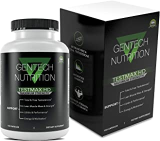 TestMax HD - Extra Strength Test Booster - Free & Total Testosterone - Improve Muscle Growth, Strength, Stamina, Libido & Sex Drive - Supports Metabolism and Fat Loss - 150 Capsules