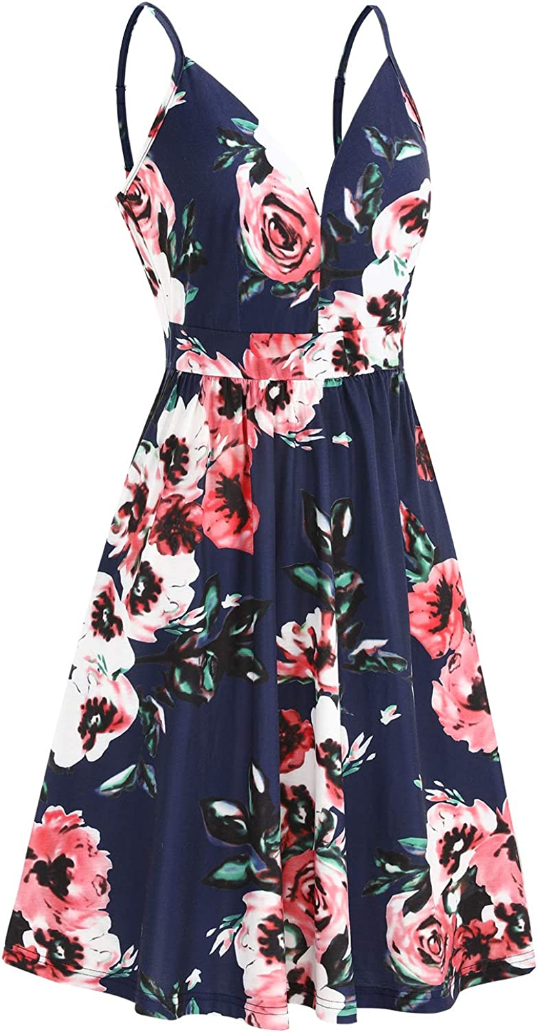 ULTRANICE Women's Summer Sexy Deep V Neck Floral Party Dresses with Pocket