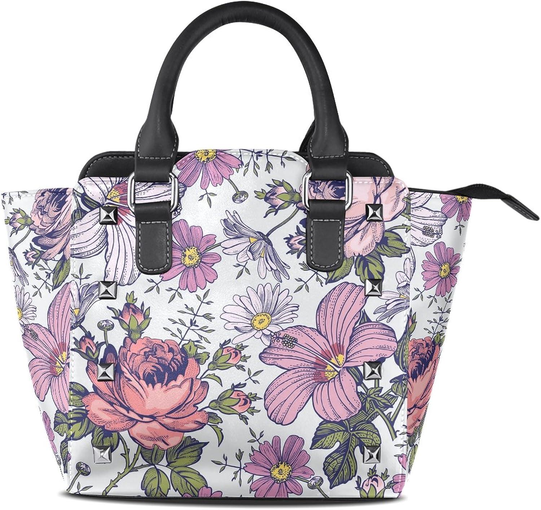 My Little Nest Women's Top Handle Satchel Handbag Retro Flowers Ladies PU Leather Shoulder Bag Crossbody Bag