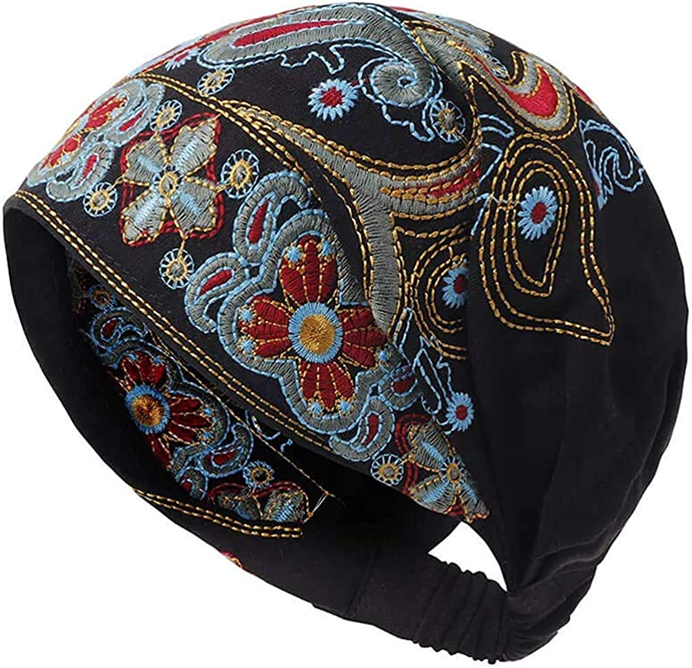 Women Summer Vintage Embroidery Ethnic Beanie Hat Cotton Elastic Turban Caps, for 22.0-22.8 inches