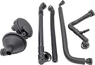 PCV Crankcase Vent Valve Breather Hose Kit - BMW E46, E39, E60-5 Piece Value Kit - Fits 320i, 323i, 325, 325i, 325ci, 328i, 330i, 330ci, 330xi, 525i, 528i - Crank Case Ventilation Oil Separator Hose