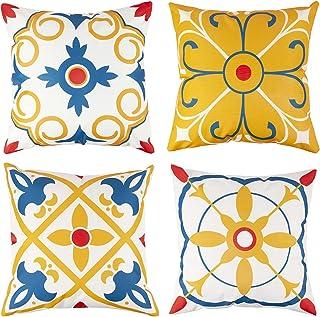 Outdoor Waterproof Throw Pillow Covers Water Resistant Outdoor Pillow Covers for Patio Furniture Garden 18x18 Inch Orange,...
