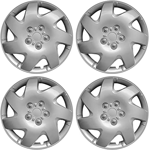 2021 OxGord 16 inch Hubcaps Best outlet online sale for 03-04 Toyota Matrix - (Set of 4) Wheel Covers sale 16in Hub Caps Silver Rim Cover - Car Accessories for 16 inch Wheels - Snap On Hubcap Auto Tire Replacement Exterior Cap online sale