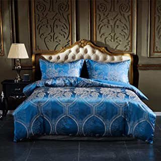 AiMay Duvet Cover Set Satin Jacquard Rich Silk 100% Luxury Super Soft Microfiber with Zipper Closure Fashion Color with Elegant Golden Pattern Comfortable (Royal Blue Queen)
