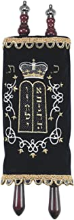 Children's Large Sefer Torah Navy Velvet with Torah Pointer Yad and Silver Crowns