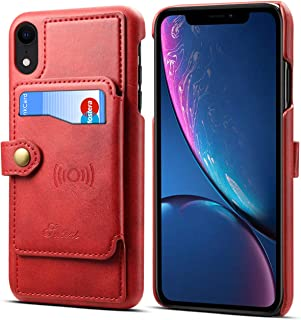 Wallet Case Cover for iPhone XR 6.1inches Apple 2018,Red Leather ID Credit Card Slot Slim Shell