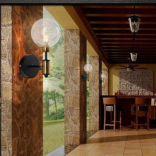 Couloir allée lumières Vintage Lampe de Mur en Fer forgé personnalité créatrice Restaurant Salon Couloir 1 tête - Bronze doré + Noir_sans Source de lumière