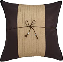 Avarada Striped Crepe Throw Pillow Cover Decorative Sofa Couch Cushion Cover Zippered 20x20 Inch (50x50 cm) Brown Gold CP01-013