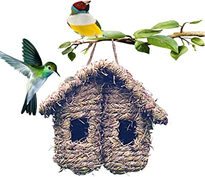 Hummingbird House for Outside, Hanging Bird Hideaway Nest Hand-Woven Bird House Roosting Pocket for Wren Sparrow Canary Chickadee