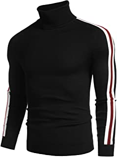 COOFANDY Men's Slim Fit Turtleneck Sweater Casual Knitted Pullover Striped Sweater