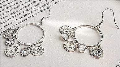 925 Sterling Silver Simple European American Retro Vintage Coins Dangle Earrings Women Jewelry