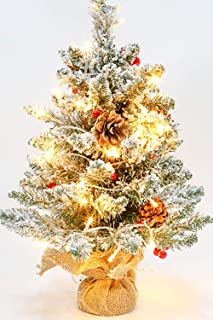 TURNMEON 24 inch Tabletop Christmas Tree with 50 LED Lights,【Battery Operated】 Snow Flocked Artificial Mini Christmas Tree for Christmas Ornaments Table Decorations (36 Red Berries 7 Pine Cones)