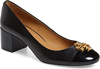Tory Burch Everly 50MM Cap Toe Pump, Leather, Perfect Black