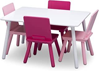 Delta Children Kids Table and Chair Set (4 Chairs Included) - Ideal for Arts & Crafts, Snack Time, Homeschooling, Homework & More, White/Pink