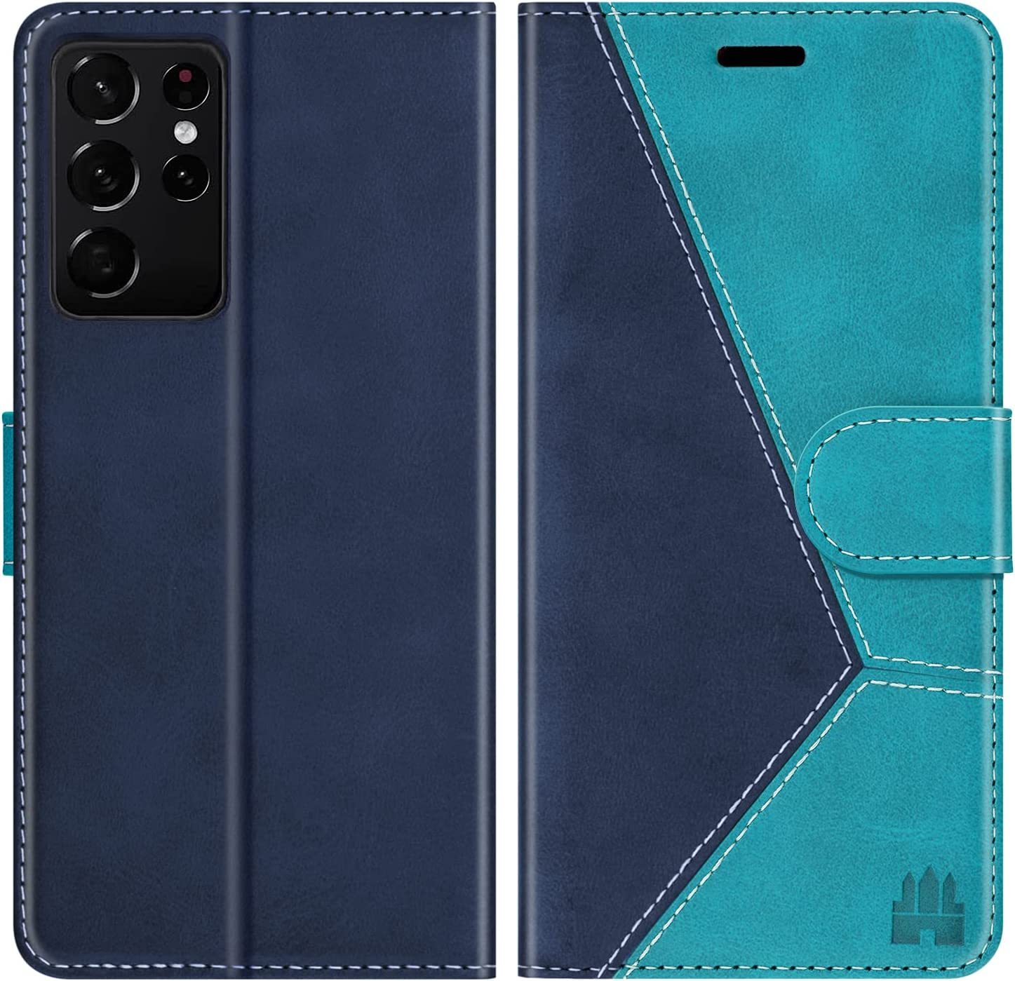 Caislean Wallet Case for Samsung Galaxy S21 Ultra 5G, [RFID Blocking] Card Holder Flip Cover [Shockproof TPU Inner Shell] [Kickstand] Magnetic Protective PU Leather Folio Folding Case 6.8 inch, Blue