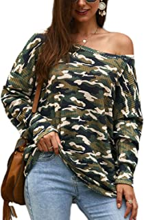 Womens Casual Striped Long Sleeve Tops Sexy One Shoulder Tunics Blouses Pullover