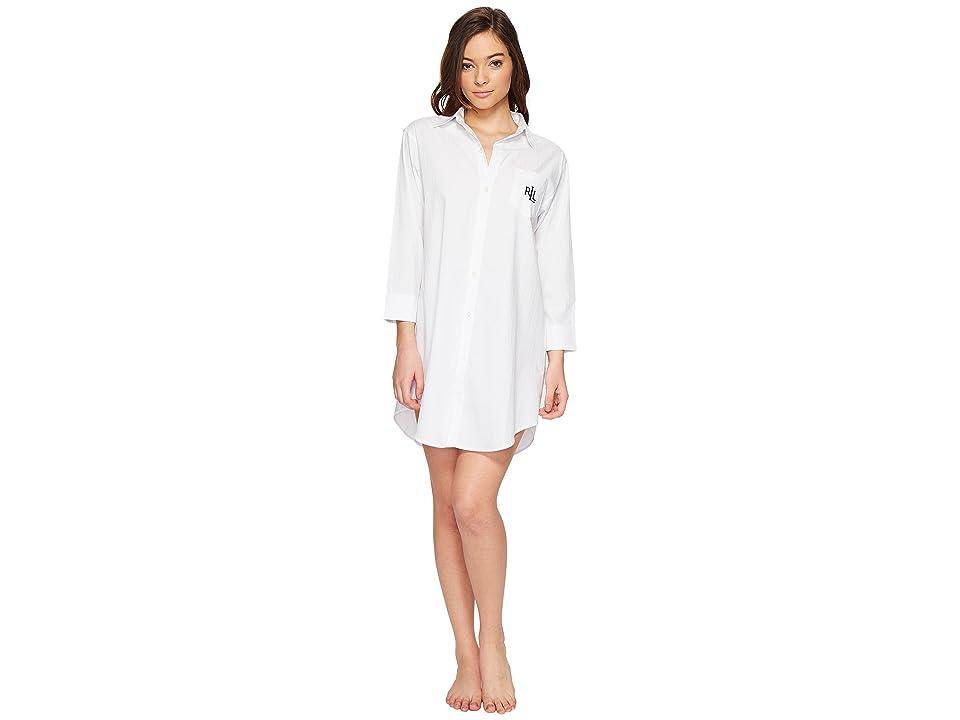 LAUREN Ralph Lauren Cotton Jacquard Sleepshirt (White) Women