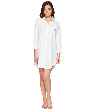 LAUREN Ralph Lauren Cotton Jacquard Sleepshirt (White) Women