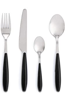 Quid Look Black 6 tenedores|6 cuchillos|6 cucharas|6 cucharillas, Acero Inoxidable, Negro